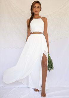 Lulus Midnight Memories White Lace Two-Piece Maxi Dress A-Line Wedding Dress