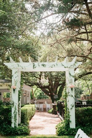 Flower Draped Reception Entrance Pergola