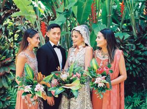 Wedding Party in Traditional Pakistani Wedding Attire in Honolulu, Hawaii