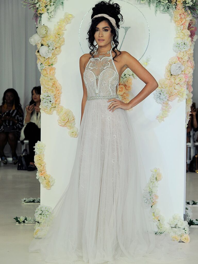 Julie Vino Fall 2018 sheer wedding dress with illusion lace bodice
