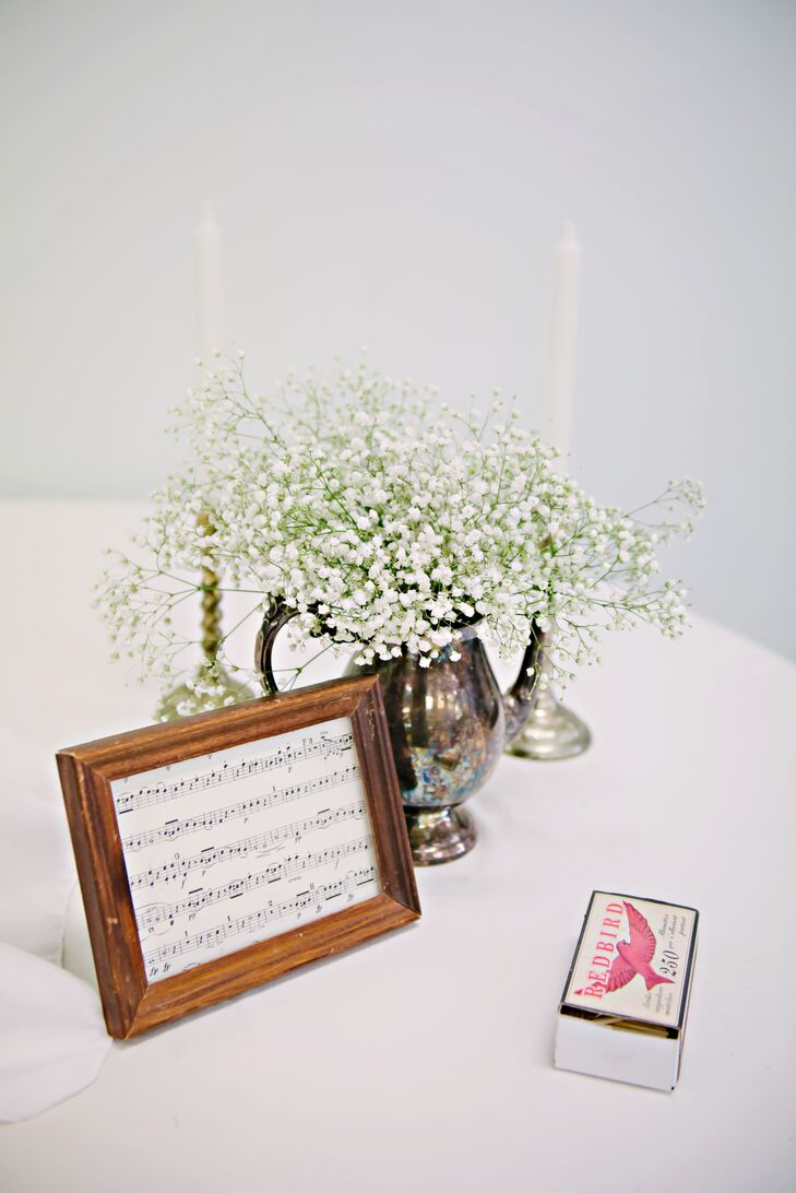 Anitque Pewter Centerpieces with Baby's Breath