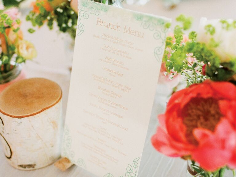 Day-after wedding brunch menu with floral centerpieces