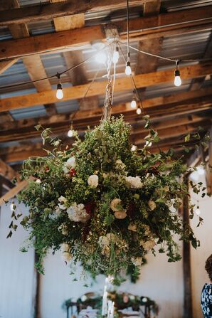 Bohemian Hanging Flower Display with Roses, Baby's Breath and Wildflowers