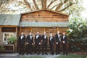 Black Custom Groomsmen Tuxedos with Barn Backdrop