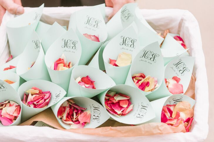 Pink Rose Petals in Personalized Paper Cones
