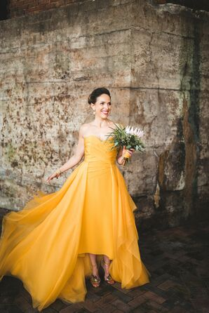 Modern Bride in Gold High-Low Dress