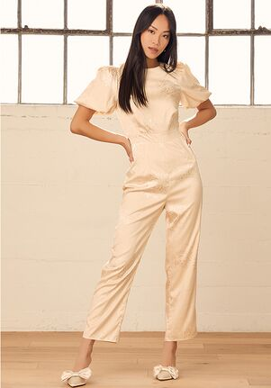 Lulus Time After Time Champagne Floral Jacquard Puff Sleeve Jumpsuit Wedding Dress