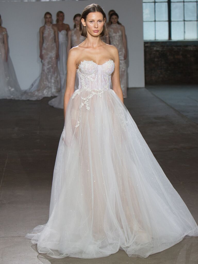 Adam Zohar Spring 2019 Collection sheer ball gown with see-through sequin tulle skirt and corset bodice