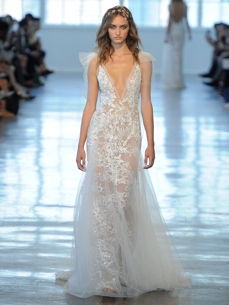 Berta fallwinter 2018 collection bridal fashion week photos berta fallwinter 2018 sheer sleeveless wedding dress with tulle detail and trumpet skirt junglespirit Gallery