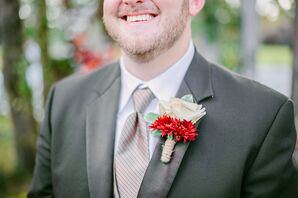 Rustic Red and White Boutonniere