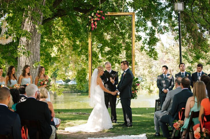 """Our goal was to bring elegance and romance to the outdoor setting,"" says Lindsay, who wed Jonathan under a rectangular gold frame adorned with blossoms at Cottonwood Country Club in Holladay, Utah."