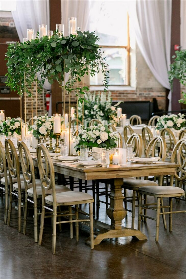 Wood Chairs and Tables at Classic Garden Wedding in Wilmington, North Carolina