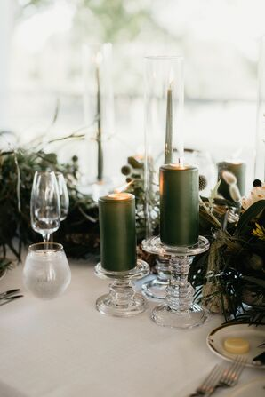 Green Candles on Glass Pedestals