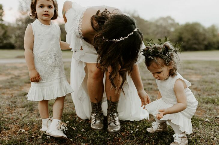Flower Girls with White Dresses and Floral Hair Accessories