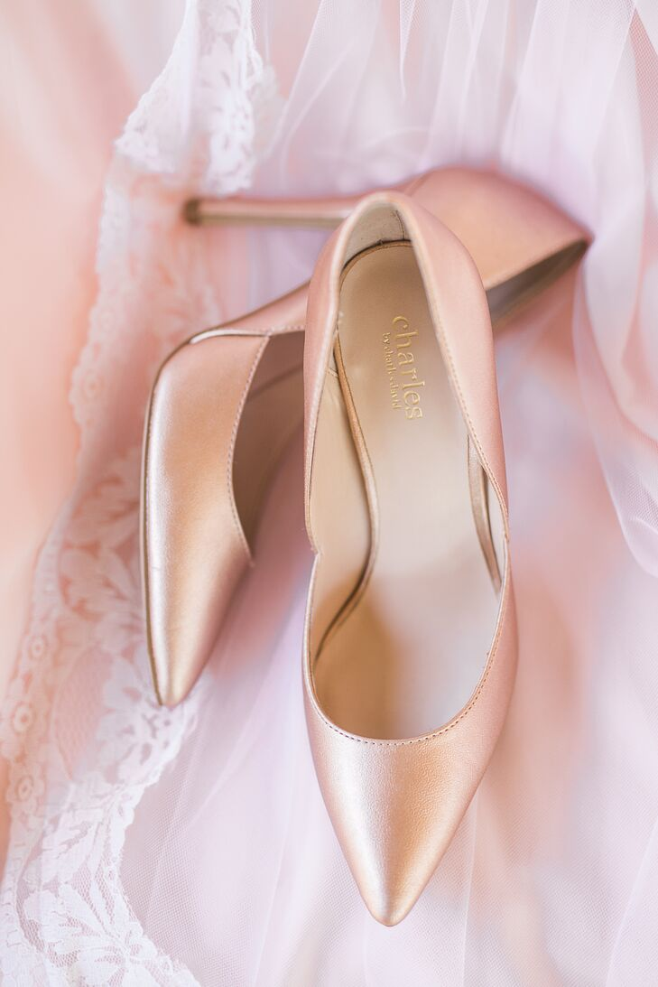 Brieann's pink satin Charles by Charles David heels added not only height but a soft, feminine touch to her wedding day ensemble.