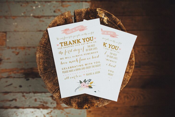 Pink and Gold Thank-You Cards