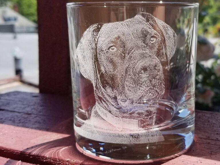 Etched glass photo gift