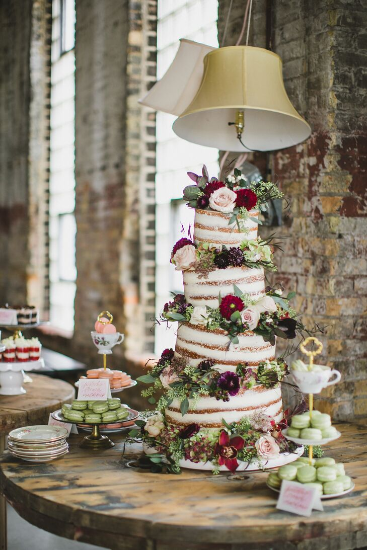 Whimsical Topsy-Turvy Tiered Cake and Tea-Cup-Accented Macaron Stands