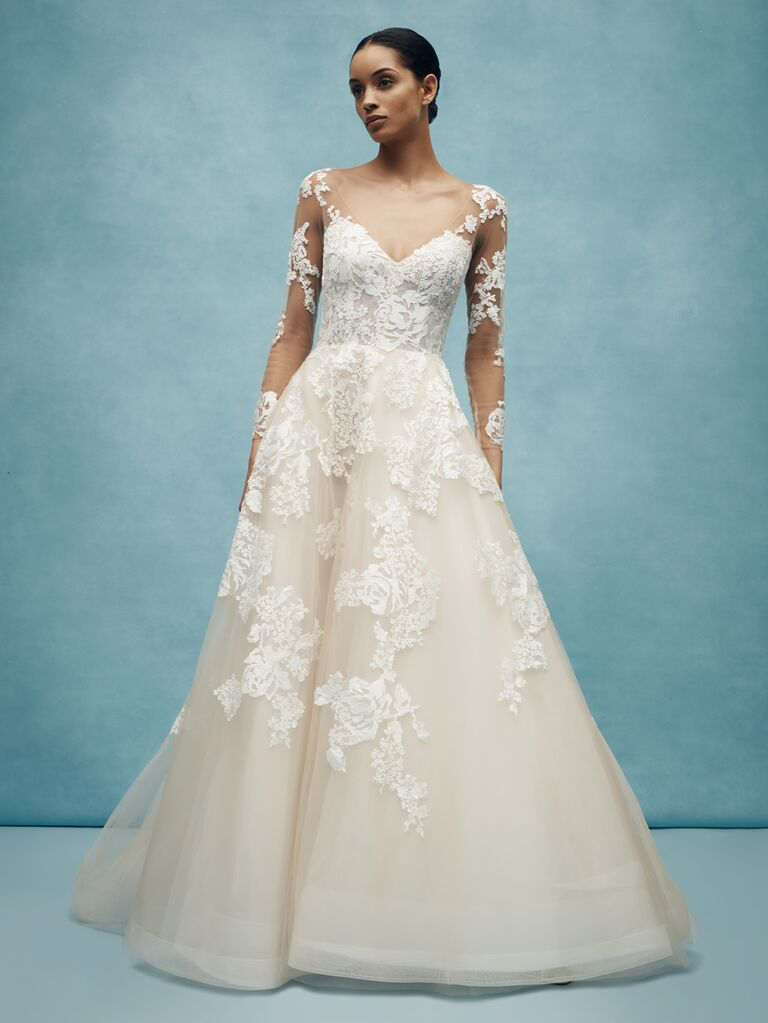 Anne Barge Spring 2020 Bridal Collection A-line wedding dress with illusion long sleeves and floral embellishments