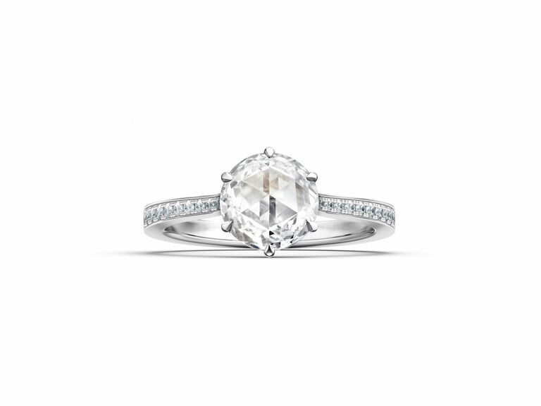 rose cut diamond solitaire ring in white metal setting