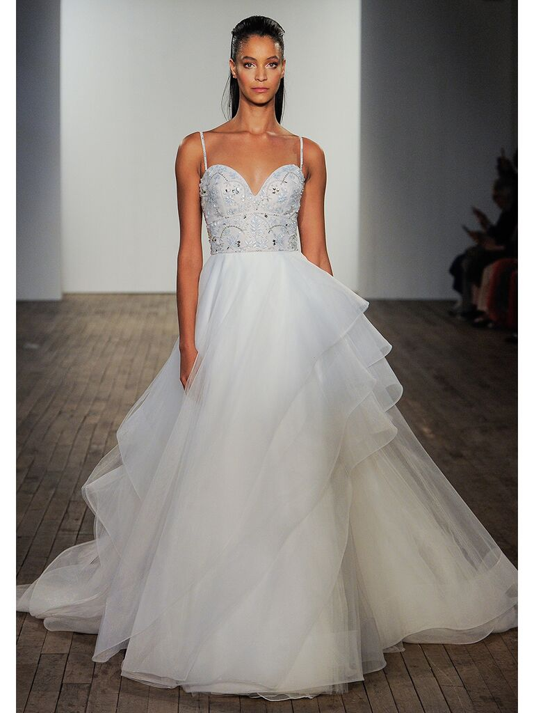 Hayley Paige wedding dress strapless ball gown with ruffled skirt