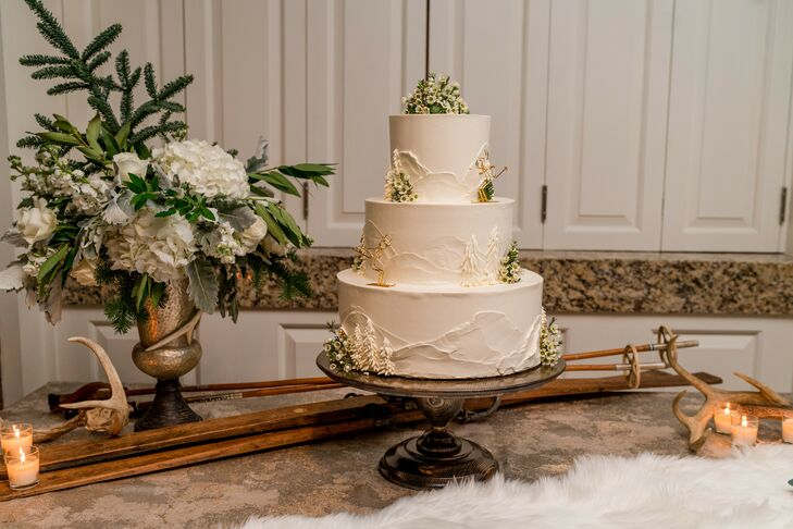 Ski-Themed Three-Tier Cake for Wedding at The Woodstock Inn and Resort in Vermont