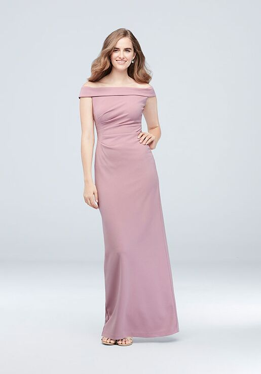David's Bridal Collection DB STUDIO Style AP2E205054 Off the Shoulder Bridesmaid Dress