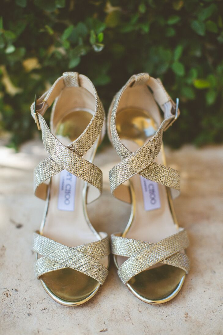"""Samantha wore sparkly gold Jimmy Choo sandals that matched her belt as well as her taste. """"I was comfortable, confident and carefree about the way I looked all day and night. I made decisions I would always make; this comfort allowed me to enjoy the true meaning of the day."""""""