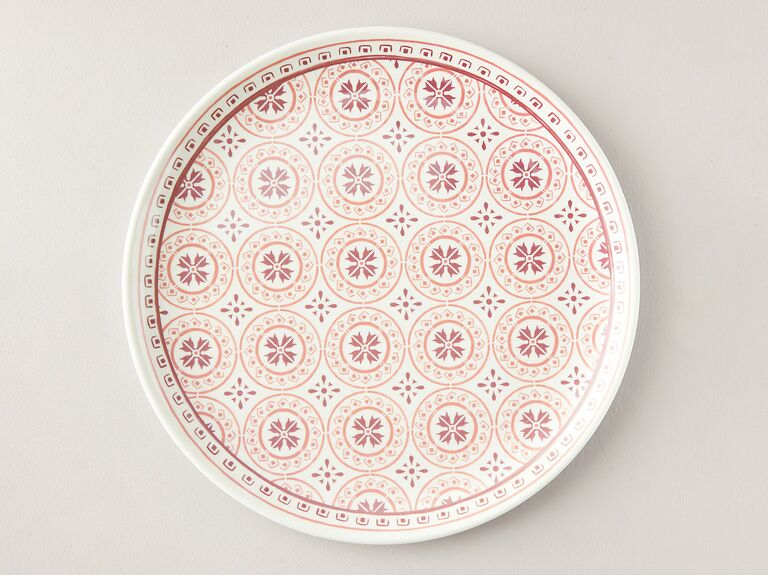 Coral-tile melamine serving tray 35th anniversary gift for a couple