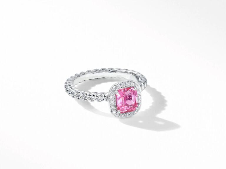 Pink sapphire cushion cut engagement ring