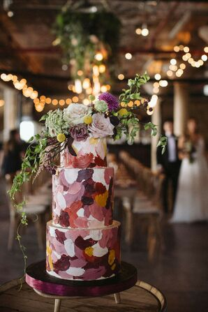 Romantic Pink Hand-Painted Cake with Flowers