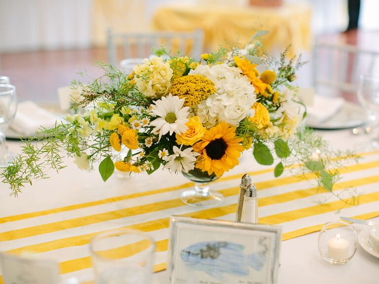 Wedding Centerpieces Sunflowers and Dahlias