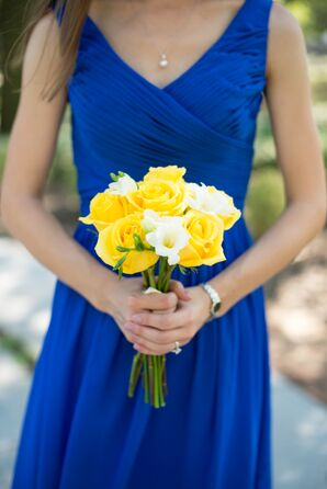 Blue Bridesmaid Dresses and Yellow Bouquets