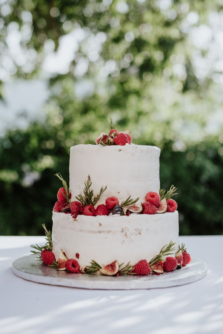 Rustic Two-Tiered Cake with Berries and Greenery