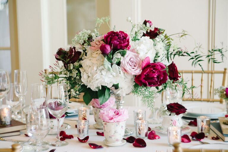 Teacup centerpiece with flowers