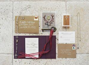 Formal, Rustic Wedding Invitations with Custom Wax Seal