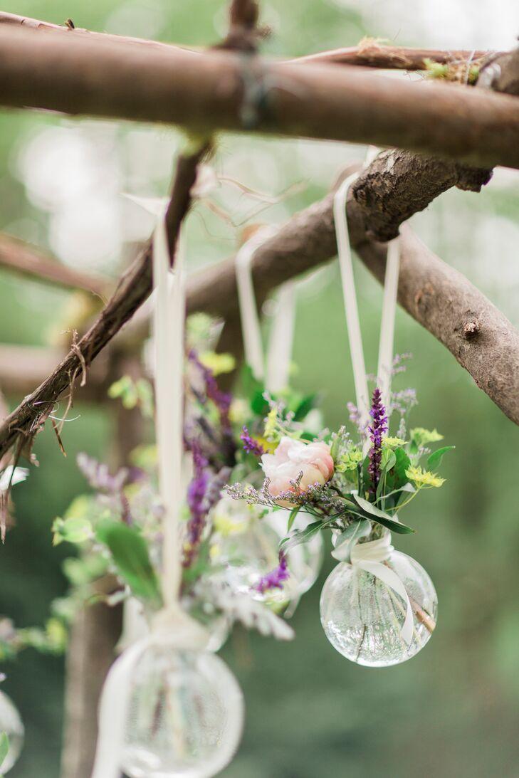Hanging Glass Orb Flower Arrangements