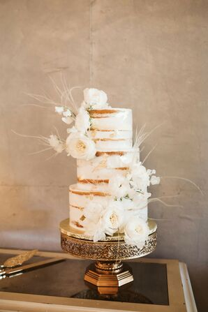 Semi-Naked Tiered Cake with Fresh White Flowers