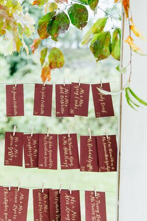 Calligraphed Hanging Escort Card Display