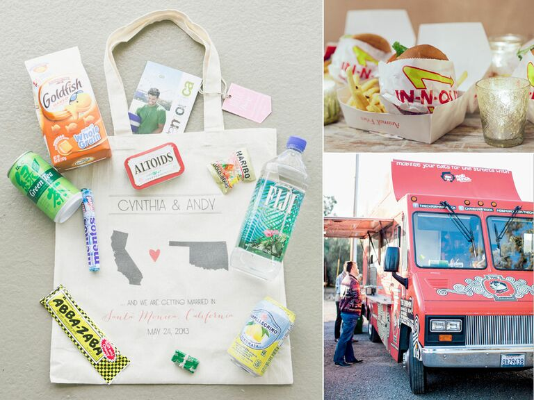 California welcome bag, food truck and In-N-Out burgers