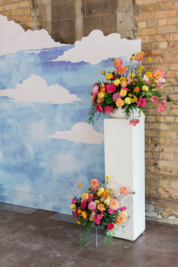 Colorful Altar Flower Arrangements at Loring Social in Minneapolis, Minnesota