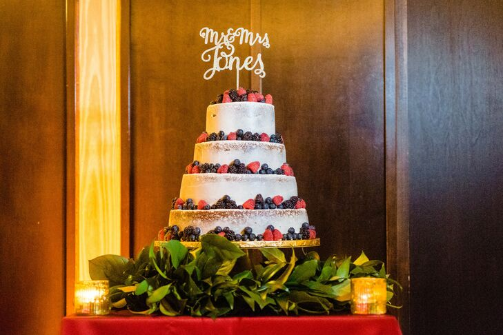 Tiered Semi-Naked Wedding Cake with Fresh Berries and Personalized Cake Topper
