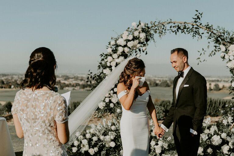 Parent giving speech during wedding ceremony