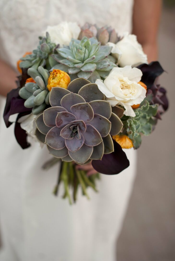 Nichole carried a unique textured arrangement of succulents, calla lilies, and roses in deep purples, greens, white and pops of bright orange.