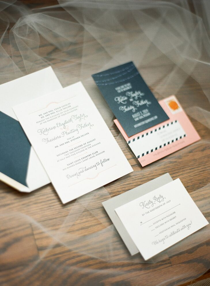 The wedding invitations were peach and navy letterpress on white cotton paper.