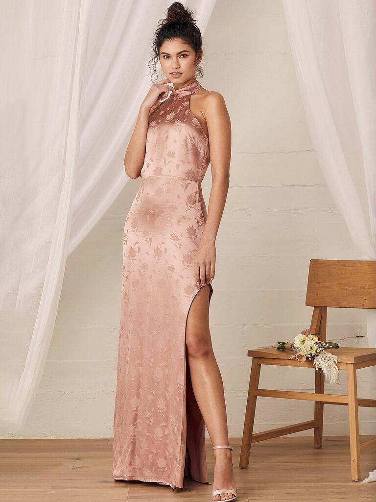 Lulus satin long dress with halter neckline and rose print