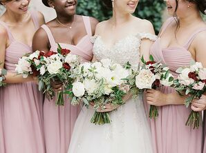 Bridesmaids in Long Pink Dresses at The Swan House in Atlanta, Georgia