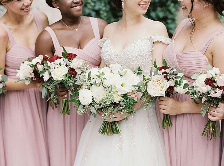 Bridesmaids in Long Pink Dresses at The Swan House in Atlanta, Georgia