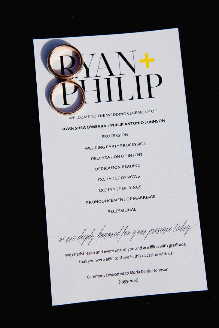 "The ceremony programs were printed on white stationery with a black font and a small yellow ""+"" symbol in between the Ryan's and Philip's names at the top. This stationery reflected the wedding's modern style."