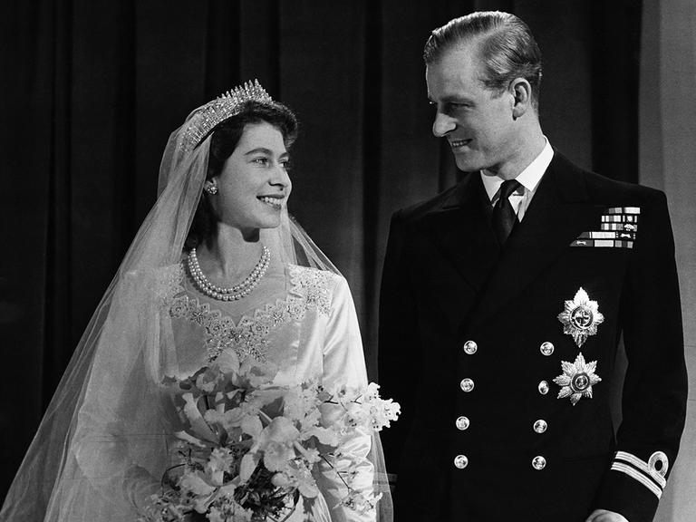 Queen Elizabeth and Prince Philip wedding day photo